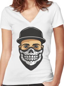 Masked Man Women's Fitted V-Neck T-Shirt