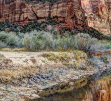 Angels Landing Reflected in Virgin River - Zion National Park Sticker