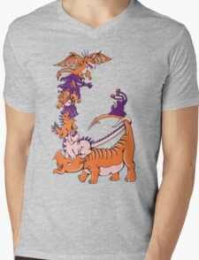 Dinosaur Dragons Mens V-Neck T-Shirt
