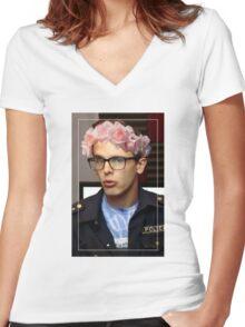 iDubbbzTV Flower Crown Women's Fitted V-Neck T-Shirt