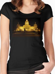 Iowa State Capitol Building Front (Night) Women's Fitted Scoop T-Shirt