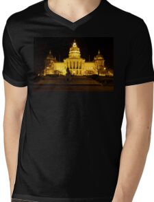Iowa State Capitol Building Front (Night) Mens V-Neck T-Shirt