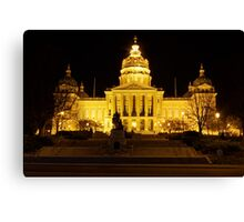 Iowa State Capitol Building Front (Night) Canvas Print
