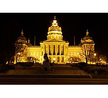 Iowa State Capitol Building Front (Night) Photographic Print