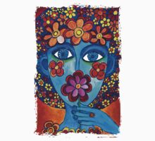 Flower Power Hand Drawn Face Kids Clothes