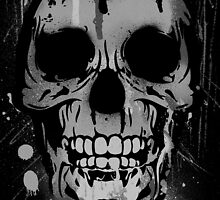 Cool Skull with Paint Drips - Black and White by Denis Marsili