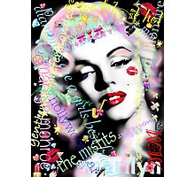 Marilyn with graffiti & diamonds Photographic Print