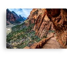 Angels Landing Trail From High Above Zion Canyon Floor Canvas Print