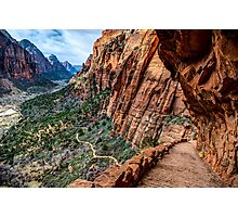Angels Landing Trail From High Above Zion Canyon Floor Photographic Print