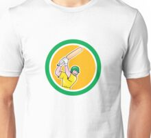 Cricket Player Batsman Batting Circle Cartoon Unisex T-Shirt