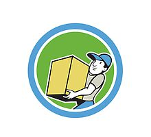 Delivery Worker Carrying Package Cartoon by patrimonio
