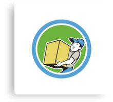 Delivery Worker Carrying Package Cartoon Canvas Print