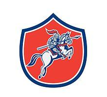 Knight Riding Horse Lance Shield Cartoon by patrimonio