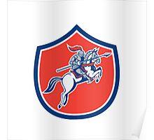 Knight Riding Horse Lance Shield Cartoon Poster