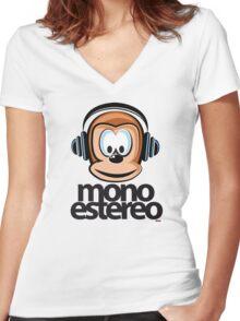 Mono/stereo Women's Fitted V-Neck T-Shirt