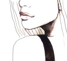 A Touch Of Pink Illustration Portrait Painting Sticker
