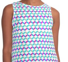 Bold Bright Trendy Optical Illusion Color Blocks Geometric Print Contrast Tank
