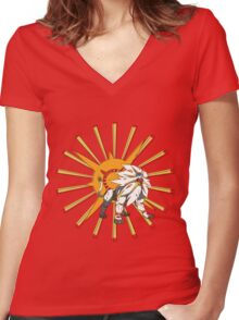 Pokemon Sun - Solgaleo Women's Fitted V-Neck T-Shirt