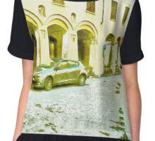 Fognano: foreshortening with street and arcade Chiffon Top