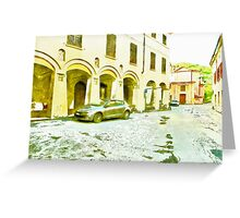 Fognano: foreshortening with street and arcade Greeting Card