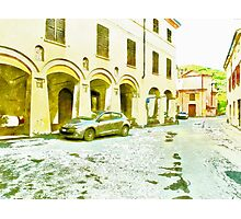Fognano: foreshortening with street and arcade Photographic Print