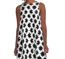 Puzzled Pattern - Classic Black & White Puzzles A-Line Dress