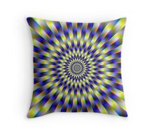 Concentric Rings in Blue and Yellow Throw Pillow