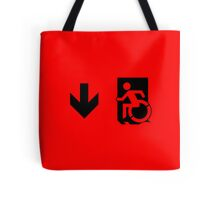 Accessible Means of Egress Icon Emergency Exit Sign, Left Hand Down Arrow Tote Bag