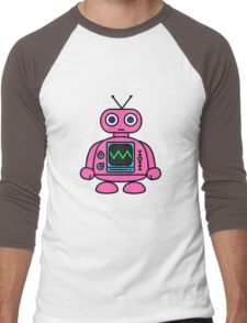 Pink Robot Men's Baseball ¾ T-Shirt