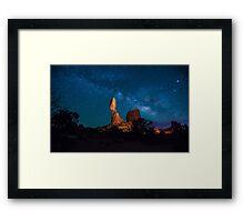 Balanced Rock And Milky Way At Night Framed Print