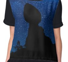 Balanced Rock Silhouette And The Milky Way Chiffon Top