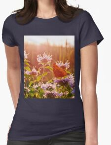 Sunset at the Butterfly Garden Womens Fitted T-Shirt