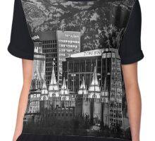 Salt Lake City Downtown Winter Skyline - Black And White Chiffon Top