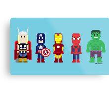 8-Bit Super Heroes! Metal Print