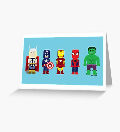 8-Bit Super Heroes! Greeting Card