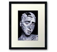 Black and white expressive portrait painting Framed Print