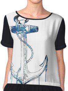 Watercolor Anchor Design Chiffon Top