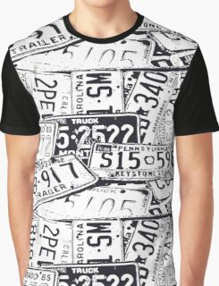 License Plates Black & White Graphic T-Shirt