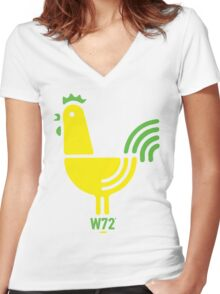 Groovy Designer Cockerel Women's Fitted V-Neck T-Shirt
