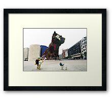 The Lego Backpacker in Bilbao Framed Print