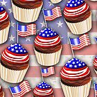 USA Flag Cupcakes Pattern by BluedarkArt