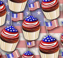 USA Flag Cupcakes Pattern by BluedarkArt