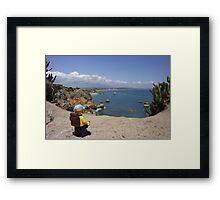 The lego Backpacker enjoying the beach Framed Print