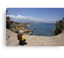 The lego Backpacker enjoying the beach Canvas Print
