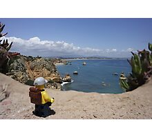 The lego Backpacker enjoying the beach Photographic Print