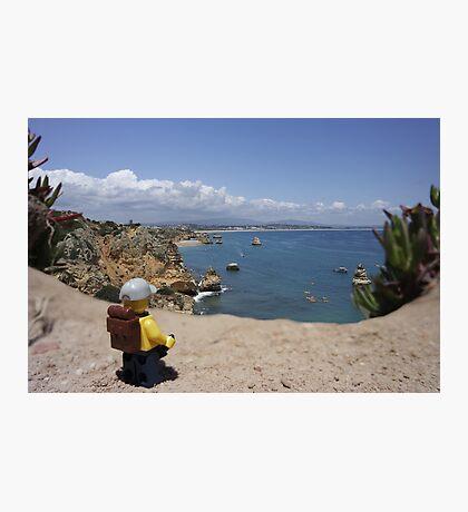 The lego Backpacker enjoying the beach Photographic Print