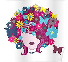 Floral Girl With Butterfly Poster