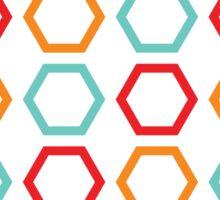 Red, Orange, & Blue Hexagons on Black  Sticker