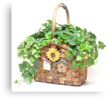 Woven Country Sunflower Birdhouse Basket with Ivy Canvas Print