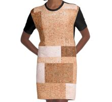 Abstract Peach Squared Graphic T-Shirt Dress